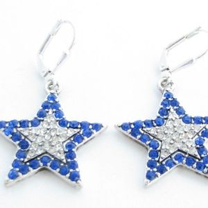 Blue Star Crystal Fashion Earrings